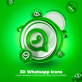 Whatsapp 3d icon mídia social fundo transparente