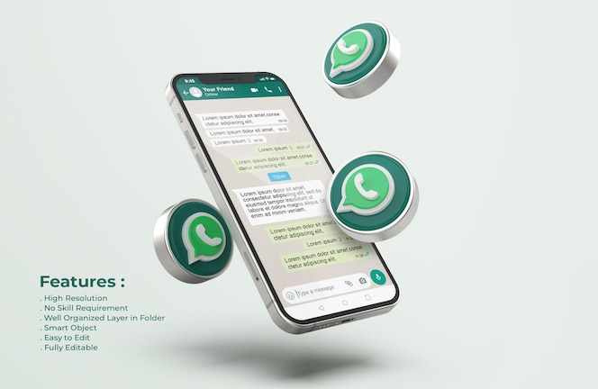 Whatsapp no silver mobile phone mockup