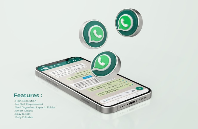 Whatsapp no silver mobile phone mockup