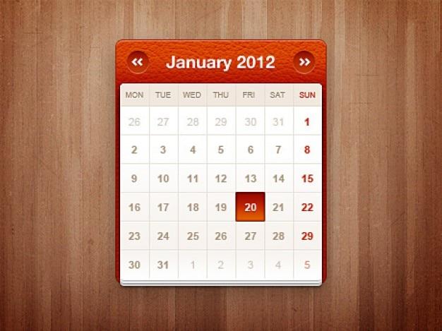 Widget de calendário pouco