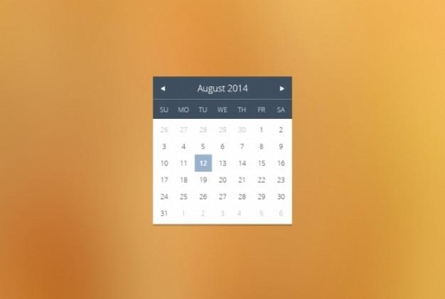 Widget de calendário simples no design plano