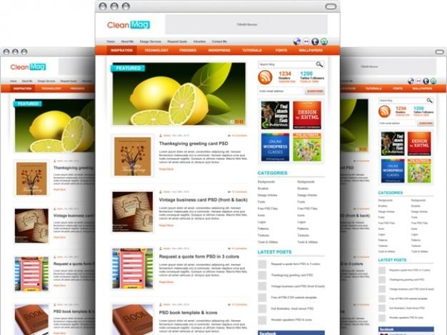 Wordpress tema blogue template psd