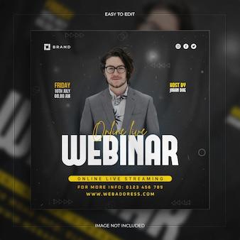 Workshop de transmissão ao vivo, modelo de postagem de mídia social de conferência de negócios