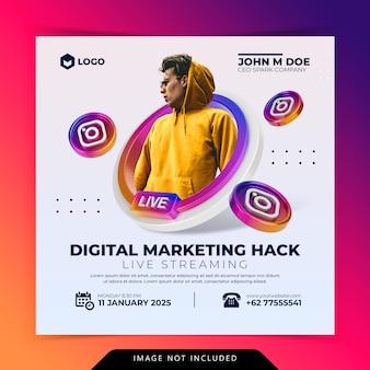 Workshop de transmissão ao vivo, modelo de postagem em mídia social