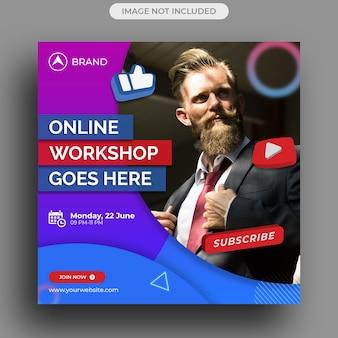 Workshop de transmissão ao vivo postagem em mídia social, modelo de postagem no instagram