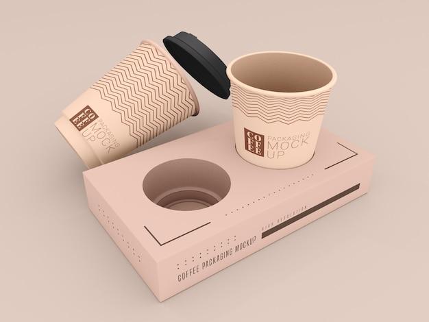 Xícara de café descartável com maquete de caixa