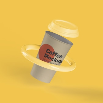 Xícara de café descartável em anel
