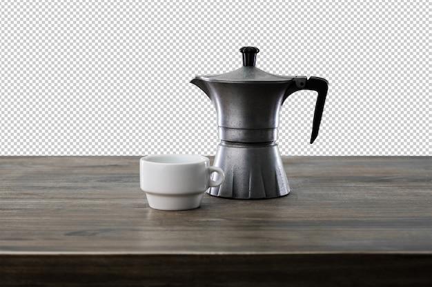 Xícara de café em uma superfície de madeira
