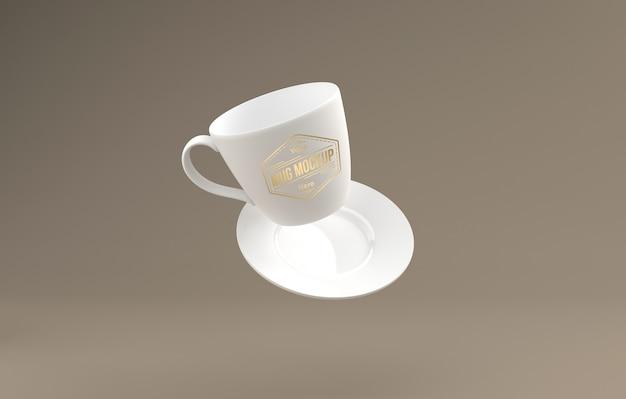 Xícara de chá branca realista com placa mockup 3d renderizada isolada