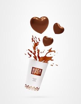 Xícara de chocolate bebendo maquete de respingo de coração