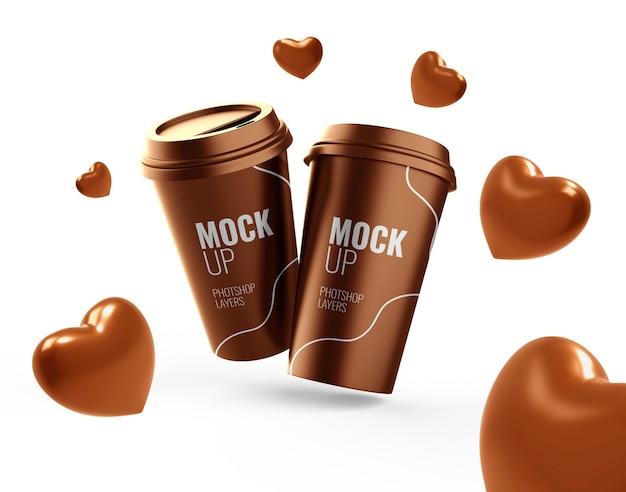 Xícara de chocolate com coração de dia dos namorados para beber maquete