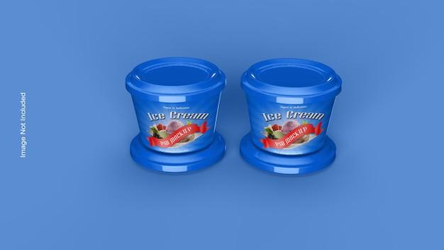 Xícara de sorvete ou maquete de embalagem do frasco