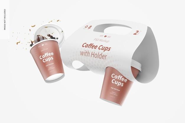 Xícaras de café com maquete de suporte, flutuante