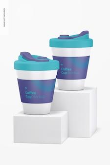 Xícaras de café com maquete de tampa, vista frontal