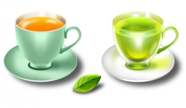 Xícaras de chá de hortelã brilhantes e pires em psd