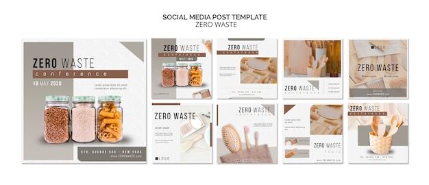 Zero resíduos mídias sociais posts modelo com foto