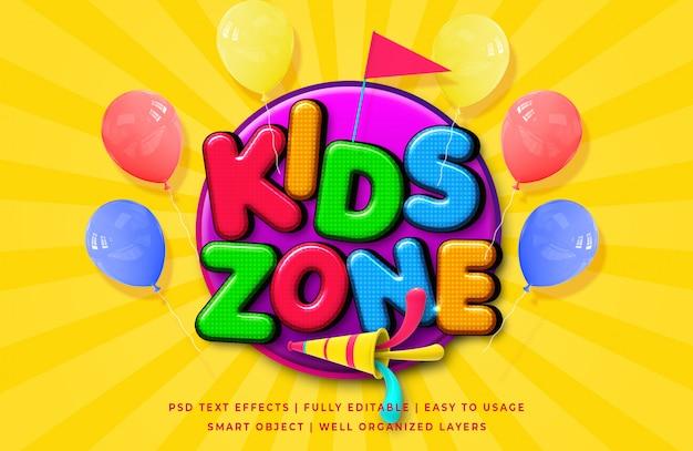 Zona de crianças cartoon efeito de estilo de texto 3d