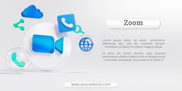 Zoom do logotipo do vidro acrílico e cópia dos ícones de chamada na nuvem