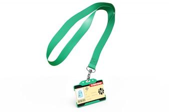 Maquette de carte d'identité sur collier