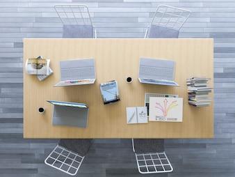 Maquette de design d'intérieur avec vue de dessus du bureau
