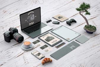 Maquette de papeterie isométrique avec le concept de photographie