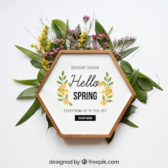 Maquette de printemps avec cadre hexagonal