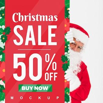 Maquette de vente de Noël avec le père Noël