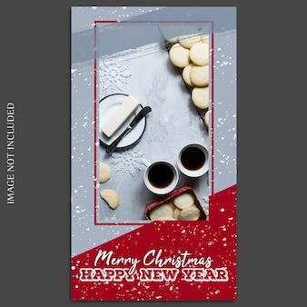 Modèle de maquette de photo de Noël et bonne année 2019 avec Instagram