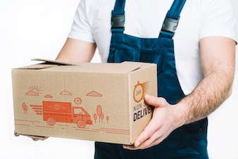 Consegna mockup con scatola di detenzione uomo