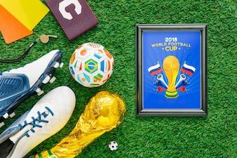 Coppa del mondo di calcio mockup con cornice