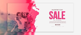 Mockup di banner di vendita di giorno di San Valentino
