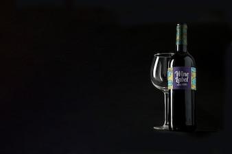 Mockup di vino con copyspace