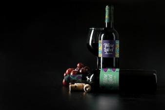 Modello di vino decorativo con copyspace
