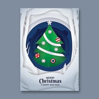 Modello di volantino di Natale di arte di carta