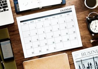 Piatto piano di agenda aziendale