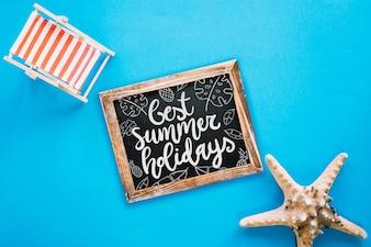 Slate mockup con il concetto di estate