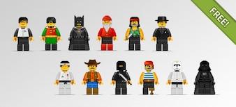 12 Lego-Zeichen in Pixel Art Style