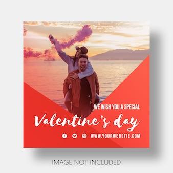 Glücklicher Valentinstag der Sozialschablone