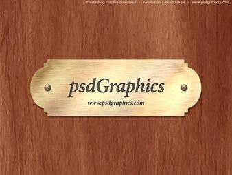 Gold Typenschild PSD-Vorlage