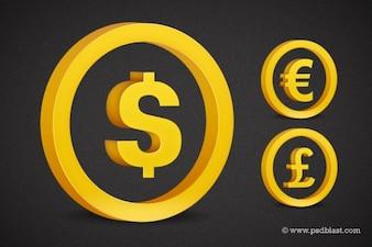 Goldenen Währungssymbol Satz psd