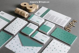 Grünes Schreibwarenmodell