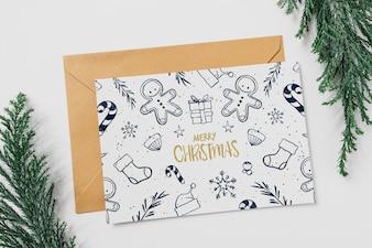 Karten- und Umschlagmodell mit Weihnachtskonzept