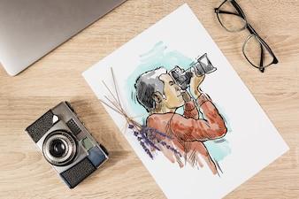 Papiermodell mit Fotografiekonzept
