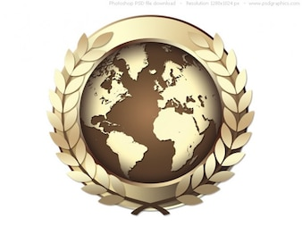 PSD Gold World Award-Symbol, goldene Medaille