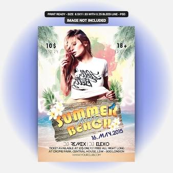 Sommer Strand Party Flyer Vorlage