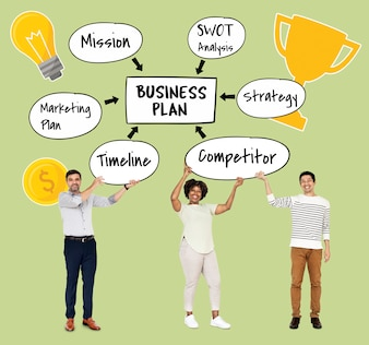 Vielfältiges Team mit einem Businessplan