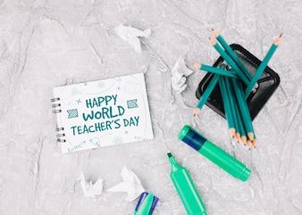 Weltlehrertagmodell mit Broschüre