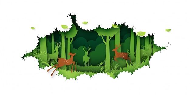 07.green jungle forest nature paysage fond papier art style