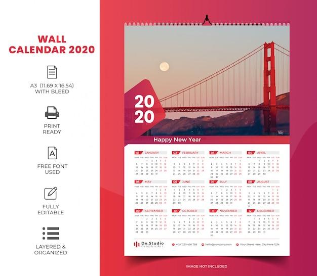 1 calendrier mural 2020