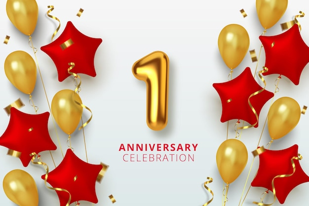 1 célébration d'anniversaire numéro en forme d'étoile de ballons dorés et rouges. chiffres en or 3d réalistes et confettis étincelants, serpentine.